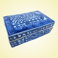 An Early Chinese Porcelain Underglaze Blue Paste or Ink Seal Box