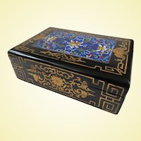 An Excellent Antique Chinese Lacquer and Cloisonne Gold Painted Letter Box, C1900