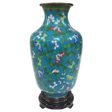 An Antique Chinese Cloisonné Vase on Stand