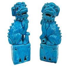 A Nice Pair of Antique Peacock Blue Chinese Foo Dogs