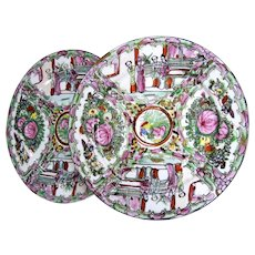A Pair of Republic Period Chinese Rose Medallion Famille Rose Plates