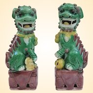 Antique Famille Verte Chinese Foo Dogs, 6.25""