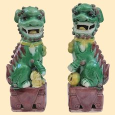 """Antique Famille Verte Chinese Foo Dogs, 6.25"""""""
