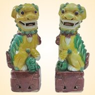 An Excellent Pair of Antique Famille Jaune Foo Dogs 6.25""