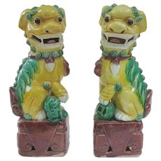 """An Excellent Pair of Antique Famille Jaune Foo Dogs 6.25"""""""