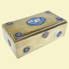An Excellent Antique Divided Chinese Brass and Enamel Box
