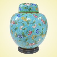 Monumental Antique Chinese Cloisonne Ginger Jar and Stand