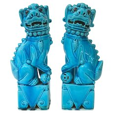An Excellent Pair of Antique Chinese Peacock Blue Foo Dogs 9.5""