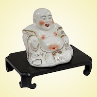 An Interesting Old Porcelain Hotei Buddha on Stand