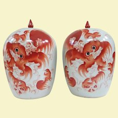 Pair Opposing Large Old Iron Red Porcelain Ginger Jars Depicting Foo Dogs or Fo Dogs
