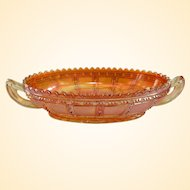 Rare Imperial Frosted Block Carnival Glass Pickle Dish