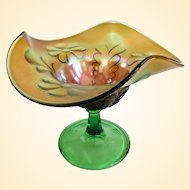 Northwood Green Daisy and Plume Stemmed Compote