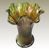 Northwood Fine Rib Squatty Carnival Glass Vase Green