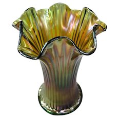 Northwood Fine Rib Squatty Carnival Glass Vase Green