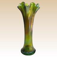 Northwood Tall Fine Rib Carnival Glass Swung Vase