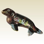 An Unusual Vintage Cloisonné Seal Animal Figure