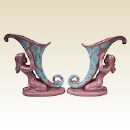1940s Royal Haeger Agate Mauve Pair of Kneeling Nude Cornucopia Vases