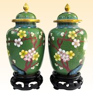 A Pair of Vintage Miniature Cloisonné Covered Vases on Stands