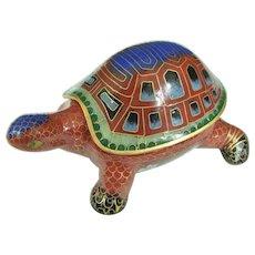 An Unusual Vintage Chinese Cloisonné Turtle Box