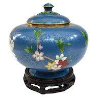 An Excellent Vintage Cloisonné  or Cloisonne Covered Jar on Stand