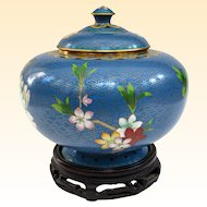 An Excellent Vintage Cloisonné  or Cloisonne Covered Jar on Stand