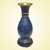 A Beautiful Vintage Chinese Cloisonné Vase In Cobalt Hues With Stand