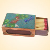 A Wonderful Antique Cloisonne Matchbox Holder With Old Match Box!