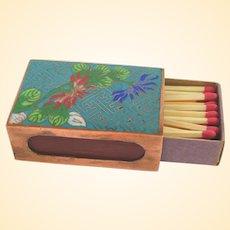A Wonderful Antique Cloisonne Matchbox Holder With Old Match Box!