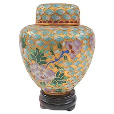 A Pretty Little Vintage Gold Washed Cloisonne Ginger Jar on Stand