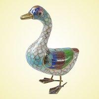 A Small Vintage Cloisonné Goose