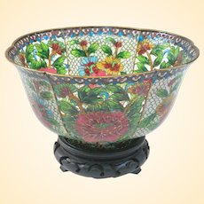 A Gorgeous and Rare Chinese Plique-à-jour Bowl on Stand