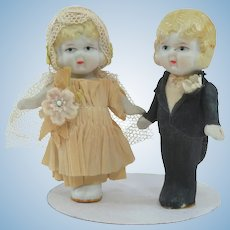Cute 1920s Japan Bisque Bride and Groom Dolls