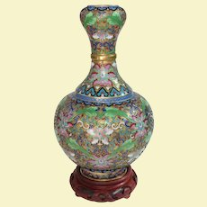 Vintage Cloisonne Vase Heavily Decorated with Gold Wash on Stand