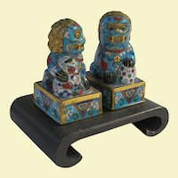Exquisite Vintage Miniature Cloisonne Foo Dogs on Stand