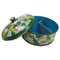 An Unusual Old Cloisonné Covered Nut Dish C1930
