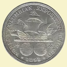 First Commemorative Coin Issued in the United States 1892 Columbian Silver Half Dollar