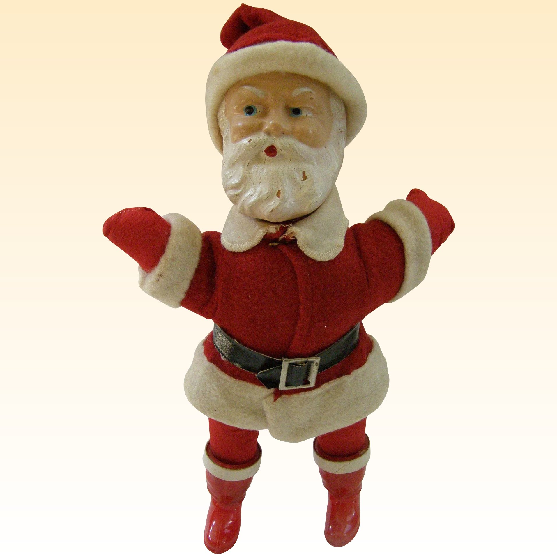 Outstanding Composition Rattle Head Santa Doll, c1930s : Tradewinds Antiques  Ruby Lane