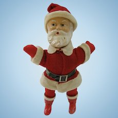 Outstanding Composition Rattle Head Santa Doll, c1930s