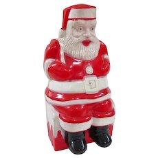 An Unusual Vintage Plastic Santa On Chimney