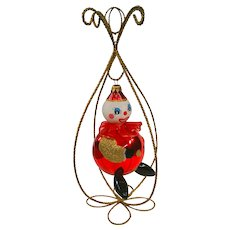 Italian Hand Blown Clown Christmas Ornament in Stand