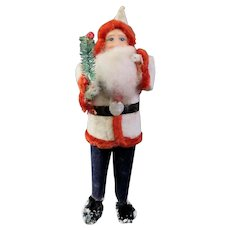 Old Flocked Composition and Chenille Santa Claus Japan C1930
