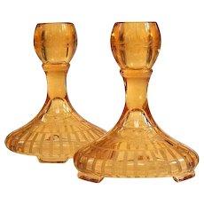Elegant Fostoria St. Alexis Depression Glass Amber Wheel Cut Candlesticks