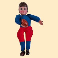 An Old Celluloid Stuffed Football Player Doll 1930s