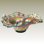 Fenton Open Edge Two Row Carnival Glass Square Hat Bowl Cobalt Blue!