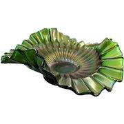 Fenton Stippled Rays Carnival Glass Bowl Rare Form