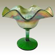 Fenton Green Carnival Glass Blackberry Bramble Compote