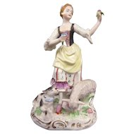 A Wonderful Vintage Dresden German Porcelain Woman Admiring Flowers