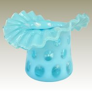 An Old Fenton Blue Opalescent Coin Dot Hat Vase
