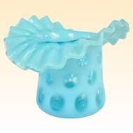 An Old Fenton Blue Opalescent Coin Dot Hat Vase