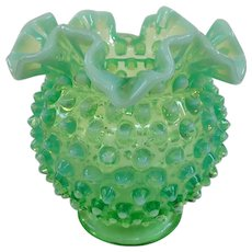Fenton Green Opalescent Hobnail Bowl